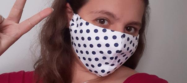 Sally wearing a spotty mask